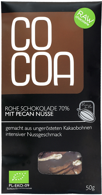 COCOA Bio-Rohkost-Schokolade mit Pekannüssen
