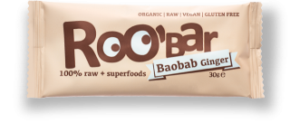 ROO'BAR Baobab & Ingwer, Bio-Rohkost-Energie-Riegel 50g
