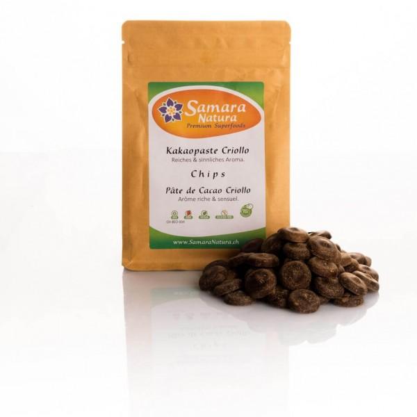 Kakaopaste Criollo Chips Bio mit Beutel